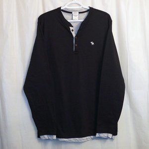 Abercrombie & Fitch Lined Henley Black Gray Large
